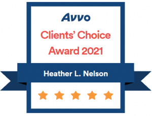 AVVO 2021 Client's Choice Award Attorney Heather L Nelson Award